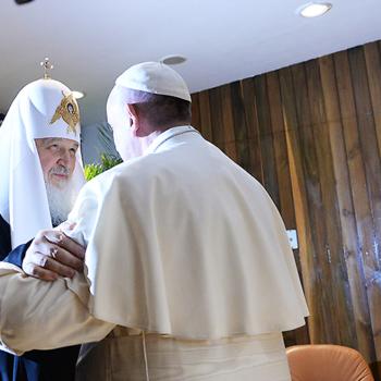 천년만의 만남, 쿠바 수도 아바나에서 프란치스코 교황님과 러시아정교회 키릴 총대주교님(출처=Igor Palkin/ACN 자료사진)
