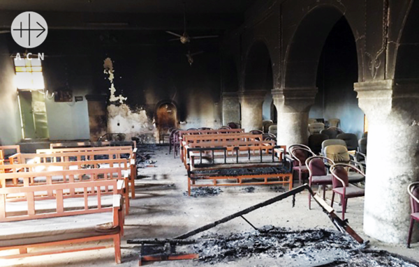 불에 타버린 가장 신성한 하느님의 집. 출처=ACN 자료사진