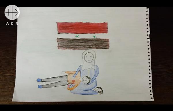 시리아 어린이의 피에타 그림. 출처=ACN 자료사진