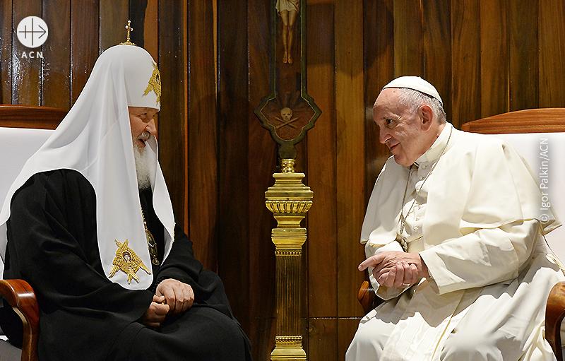 2016년 2월 쿠바, 프란치스코 교황과 러시아 정교회 수장 키릴 총대주교의 만남 (출처=Igor Palkin/ACN)