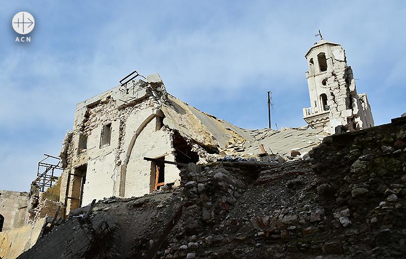 알레포의 파괴된 그리스 정교회 성전 (출처=ACN 자료사진)