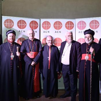(왼쪽부터) ACN의 사무총장 필립 오조레스, 시리아 정교회 니코데모 다우드 샤라프 대주교, 국제 ACN 재단장 마우로 피아첸사 추기경, 칼데아 가톨릭 루이스 라파엘 1세 사코 총대주교, 시리아 가톨릭 유한나 페트로스 무셰 대주교, 시리아 정교회 대주교 티모테우스 모사 알사마니 몬시뇰, 이라크와 요르단 교황대사 알베르토 오르테가 마르틴스 대주교 (출처=ACN 자료사진)