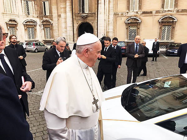 "Italy, November 2017 Pope auctions Lamborghini to support Christians in Iraq. A brand-new Lamborghini special edition Huracan presented to Pope Francis will be auctioned off with the proceeds donated to charity.  Part of the funds raised from the Sotheby's auction will go to the project ""Return to the roots"" rules by foundation Aid to the Church in Need  (ACN)  to allow displaced Christians to return to their original villages and recover their dignity after the devastation by the Islamic State group."