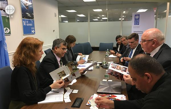 UN개발계획부와 회의 중인 ACN 대표단, 콜롬버스기사수도회 (출처=ACN 자료사진)