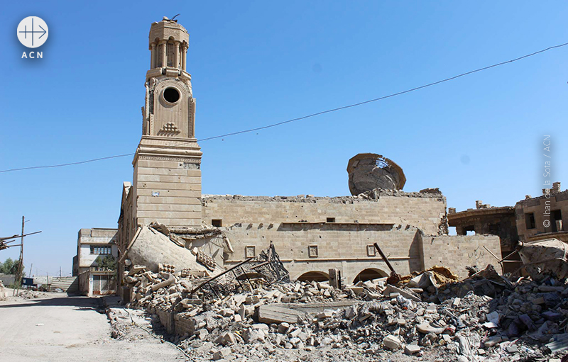 이라크 모술의 파괴된 성전 중 하나인 칼데아 가톨릭 성모무염시태성당(© Iban de la Sota / ACN)