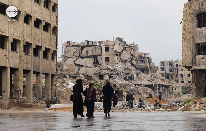 전쟁으로 폐허가 된 시리아 알레포(출처=ACN 자료사진)