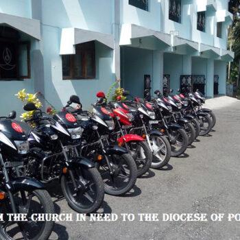포트 블레어 교구에 지원된 10대의 전기 자전거 (출처=ACN 자료사진)