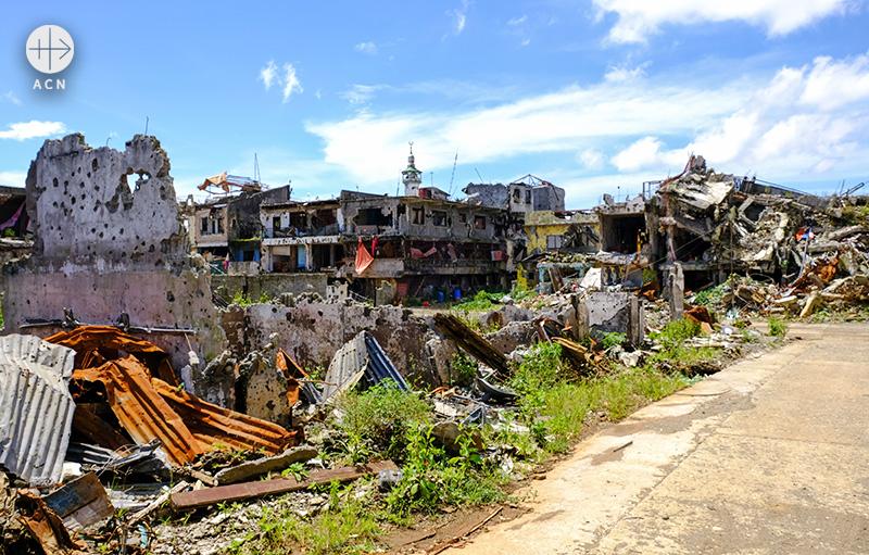 필리핀 마라위, 파괴된 도시의 모습 (출처=ACN 자료사진)