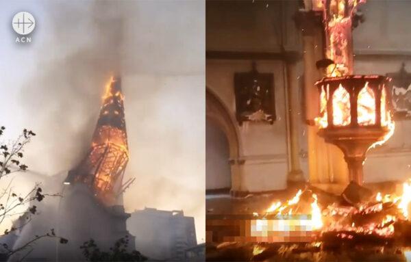 불에 타 무너져 내리는 산 프란치스코 데 보르하 성당과 성모 승천 성당 (출처=ACN 자료사진)