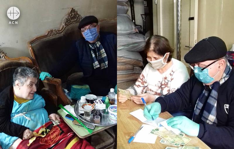 애니 수녀가 꾸린 자원봉사 팀원 중 한 명이 마스크와 장갑을 착용하고 도움이 필요한 가정들을 방문하고 있다. (출처=ACN 자료사진)