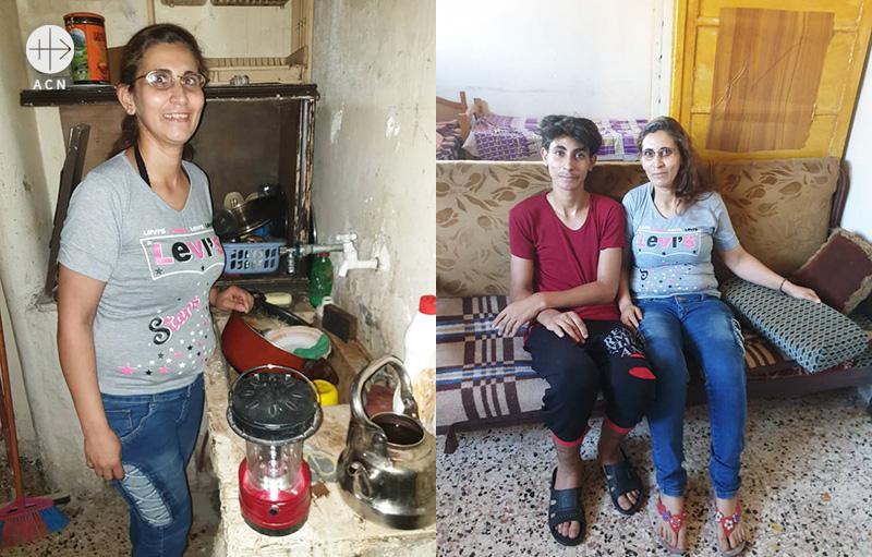 애니 수녀의 팀이 돌보는 알레포의 그리스도인 가정 중 하나. 나딘 이들리비 씨는 2014년 알레포 포위 당시 남편을 잃고 홀로 세 아이를 키워야 했다. (출처=ACN 자료사진)