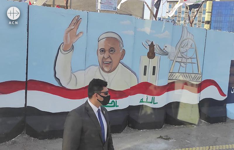 프란치스코 교황의 사목 방문을 환영하는 이라크 거리의 벽화 (출처=ACN 자료사진)