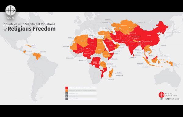 2021 세계 종교 자유 보고서 종교 자유 침해가 심각한 국가를 나타낸 세계 지도